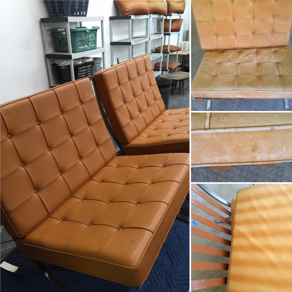 Barcelona Chairs Refinished by New Life Service Company of Dallas at www.newlifeservice.net