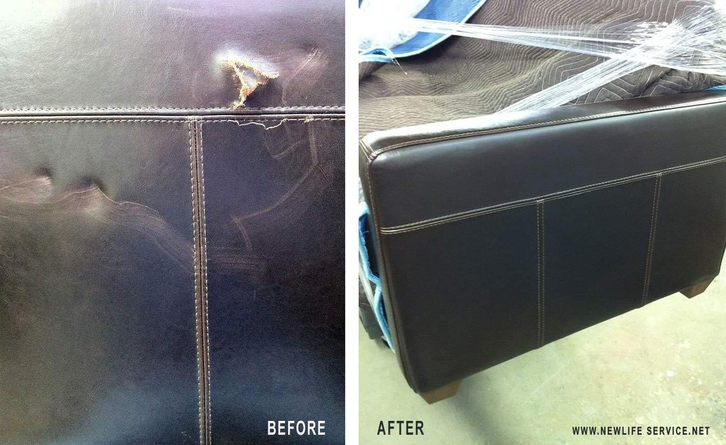 Before & After Photo Leather Couch Repair & Refinish by New Life Service Company of Dallas at www.newlifeservice.net